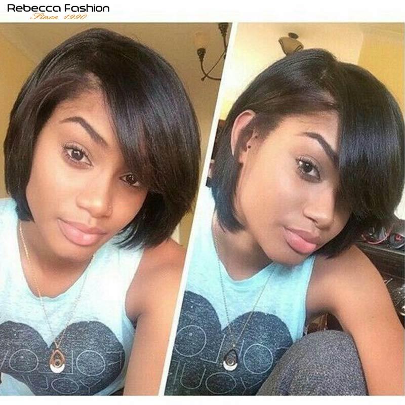 Rebecca Short Straight Hair Bob Wig Human Hair Wigs For Black Women Human Hair Full Wig Peruvian Remy Fashion Bob Wigs Red Blond
